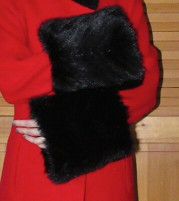 Vintage  Beautiful And Chic 3Xlarge  Black Mink Fur Coat Cuffs Accessory