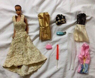 Old Vintage 60s Barbie MIDGE Doll Molded Hair Blue Eyes Clothes Accessory Lot