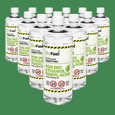 Bio ethanol Fuel 12 x 1L. FREE NEXT DAY DELIVERY. 97% Purity, Clean Burning