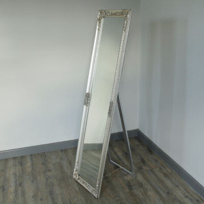 Tall freestanding silver ornate cheval mirror shabby French chic bedroom vanity