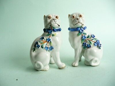 Antique Porcelain Pug Dogs with Flowers........................ref.445