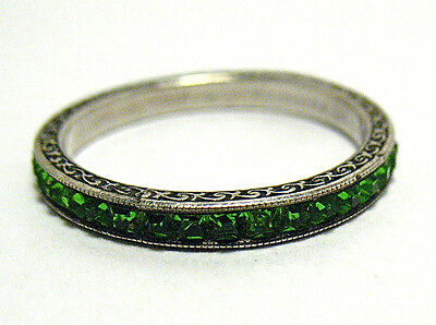 Vintage Silver Green Stone Eternity Band Ring Size 6.75 Syboll