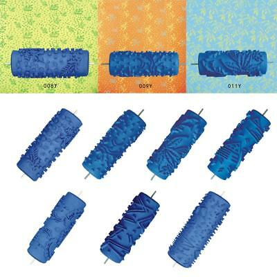 5 Inch Blue Embossed Paint Roller Painting Brush Sleeve Wall Texture Tool