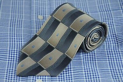 Arrow Men's Tie Gray Tan & Blue Dash Geometric Silk Necktie 57 x 3.75 in.