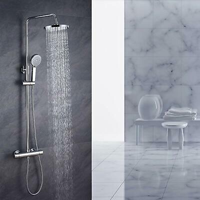 Cool Touch  Wras Approved Thermostatic Shower Mixer Twin Head Round Brass