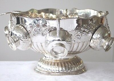 Vintage silver plated on copper decorative quality punch bowl