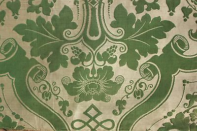 Silk Brocatelle antique French green bed curtain hanging  w/ trim brocade lovely
