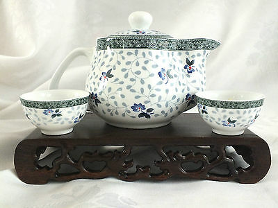 Chinese Flower White Teapot 6 Cup Gungfu Tea Set W Infuser Japanese Party A4