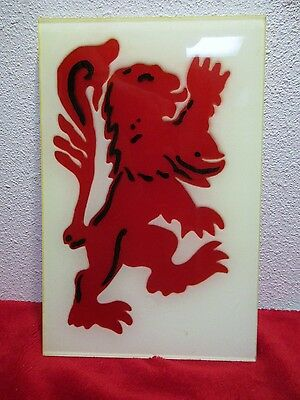 """Lion Acrylic Lucite Wall Hanging 2 sided Vintage 10¾"""" Heraldry Heraldic"""