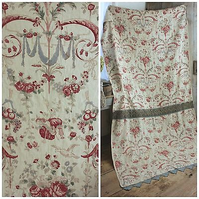 Antique French LINEN hand block printed curtain panel STUNNING ! Rococo floral