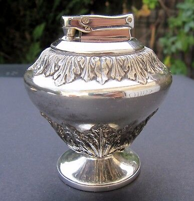New old Stock Vintage Colibri Table Butane Gas Gaz lighter Silver Plated