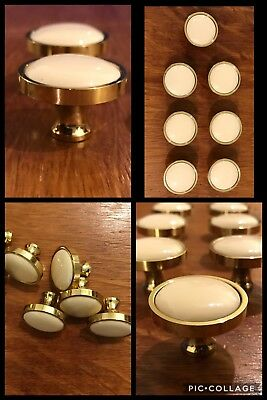 7 Knobs Pulls Round Ivory White CERAMIC Brass Tone Cabinet Drawer Heavy Vintage