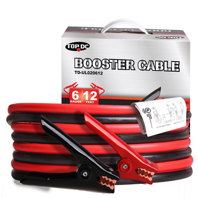 TOPDC Battery Jumper Cables 6 Gauge 12 Feet UL Listed (6GA x 12Ft)