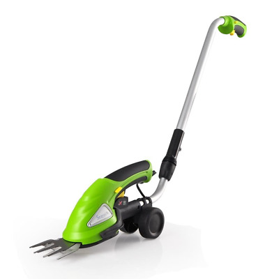 SereneLife Cordless Push Grass Cutter Shears, Wheeled Electric Hedge Shrubber Tr