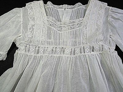 Antique Child's Tea Dress Gown W French Lace Heirloom Sewing Embroidery, Eyelet