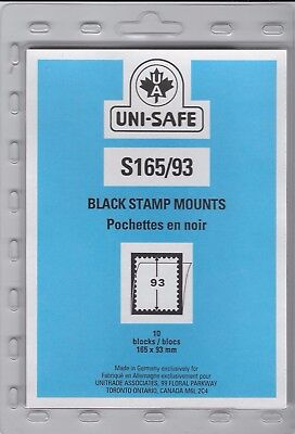 """Uni-Safe """"S"""" Top Opening #165/93 Stamp Mounts (Made in Germany) 10 Black strips"""