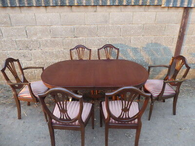 Strongbow Furniture Mahogany Extending Dining Table With 6x Chairs inc Carvers