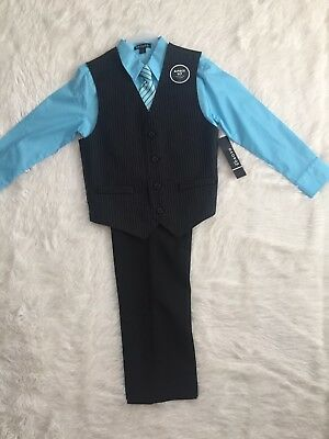 New George 4 Piece Boys Vest Set Size 10 Black/baby Blue