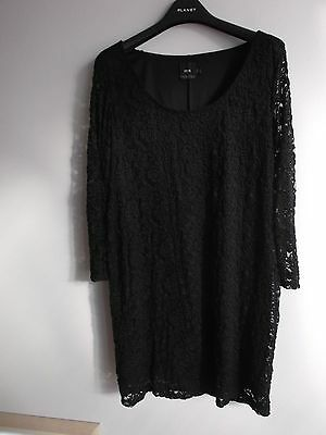 ASOS Black Stretch Lace Maternity Dress sheer sleeve scoop neck - Size 14 VGC