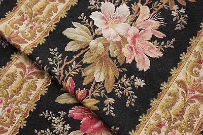 Black French fabric floral 1880 antique cotton upholstery fabric 2.7 YARDS Multi