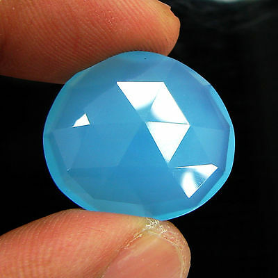 18.40 Ct Natural Blue Chalcedony Loose Faceted Gemstone Beautiful Stone - 10752