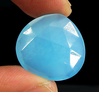 17.60 Ct Natural Blue Chalcedony Loose Faceted Gemstone Beautiful Stone - 10741