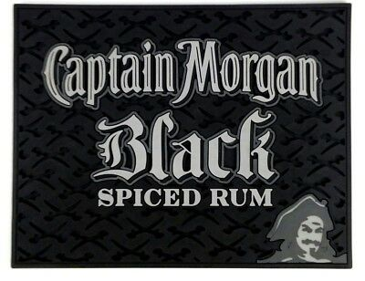Captain Morgan Black Spiced Rum Bar Spill Rail Mat Square Rubber 14 x 11