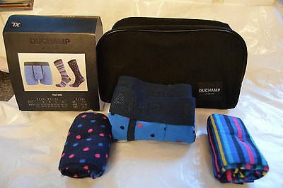 brand new Duchamp wash bag gift set 2x egyptian cotton socks and 1x shorts XL