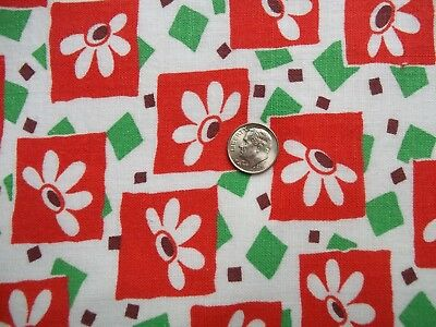 """Vintage Full Feed Sack Very Colorful Floral Geo Red, Green Print 40"""" x 36"""""""