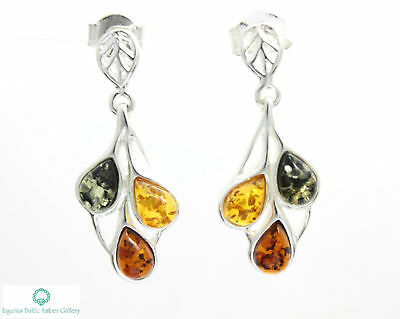 NATURAL BALTIC AMBER STERLING SILVER 925 Earrings Droop Dangle Certified + BOX