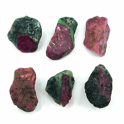 310.00 Ct Natural Ruby Zoisite Loose Gemstone Rough Specimen Lot of 6 Pcs- 10185