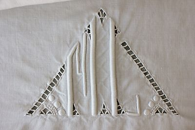 Sheet LINEN FRENCH FINE  monogram  88X123 linen  white  1940's