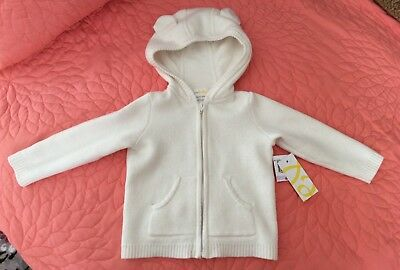 $75 Bloomie's Baby Cotton/Cashmere Bear Ears Hooded Cardigan Sweater Ivory 6 MO