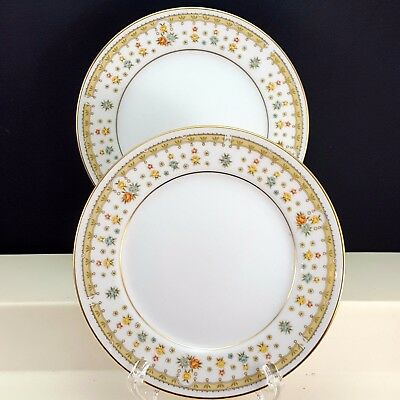 Fine China of Japan Garden Bouquet 4078 Bread Butter Plates Set of 2 Floral Gold