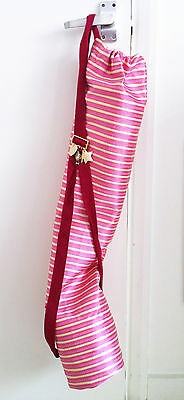 DANA LEVY pink yoga mat bag gold striped silk with charms and red ribbon strap