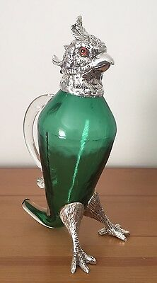 """Cool """"Chicken"""" Silver Plate & Coloured Glass Pitcher. Open To Offers."""
