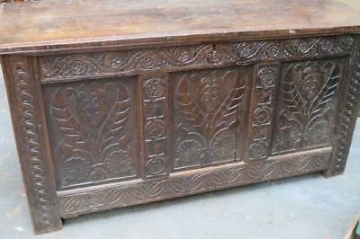ANTIQUE Georgian Heavily Carved OAK COFFER,Trunk,Chest,Blanket Box,Wooden