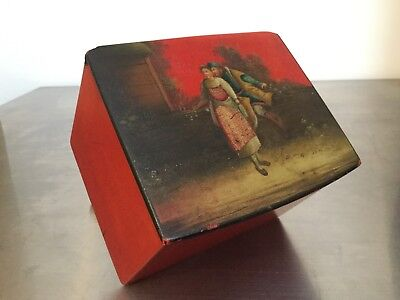 ⭐️ Rare Antique Russian Tea Caddy, Antique Russian Lacquer Box
