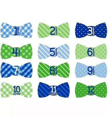 Tiny Ideas First Year Milestone Monthly Bowtie Stickers Photo Sharing Baby Belly