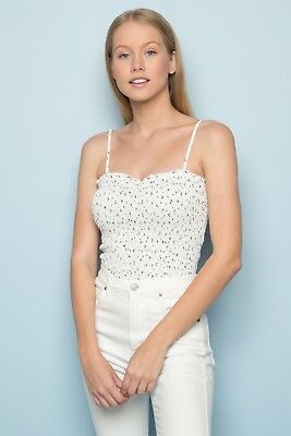 5fbd1f6f87dba3 NEW! BRANDY MELVILLE cream blue floral smocked cropped Ally tank top ...