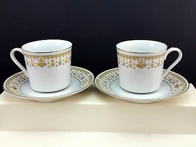 Fine China of Japan Garden Bouquet 4078 Cups and Saucers Set of 2 Floral Gold