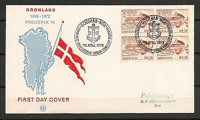 "GREENLAND 1972 FDC ""Frederik IX and Queen Ingrids Fund"" Cz Slania Facit 81"