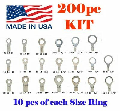 100 AMP TE  Ring Connector Terminals 14-18 AWG Non Insulated Brass #6 60770-1