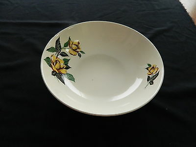 Universal Ballerina Potteries Vegetable Serving Bowl Yellow Roses Made in USA
