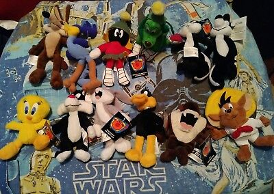 WB Looney Tunes Mini Beanbag Plush Lot of 12 Marvin Martian Bugs Taz Tweety