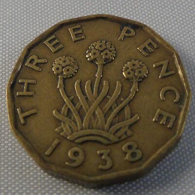 Three Pence 3d King George VI 1938 Collectable Brass Coin Great Britain Birthday