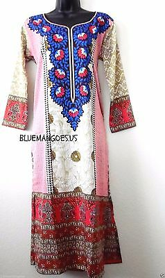 Womens Indian Pakistani LONG kurti kurta Printed tunic long sleeves USA seller