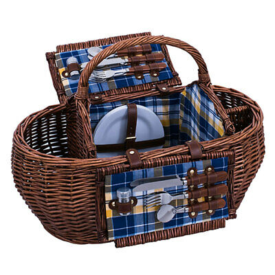 Avanti 4 Person Round Wicker Picnic Basket Willow W/Blanket/Cups/Plates/Cutlery