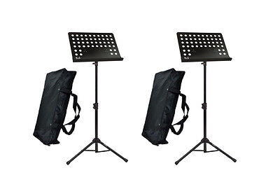 2 x Pulse Heavy Duty Orchestral Conductor Sheet Music Stand Instrument Band &Bag