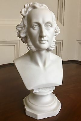 An Unmarked KPM Parian Bust Of Composer Mendelssohn, c.1880. 21cm.